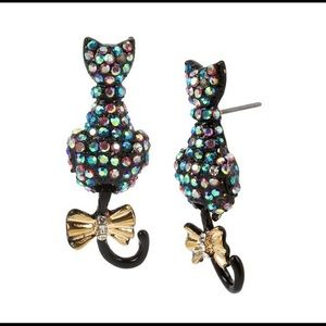Betsey Johnson Pave Cat Drop Earrings